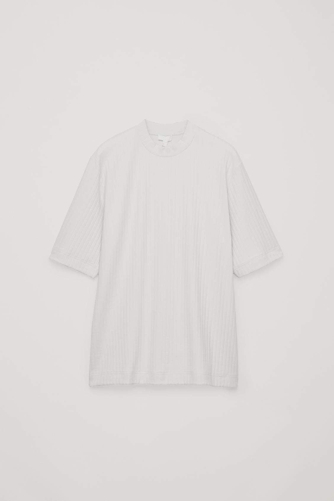 Front image of Cos long organic-cotton rib t-shirt in beige