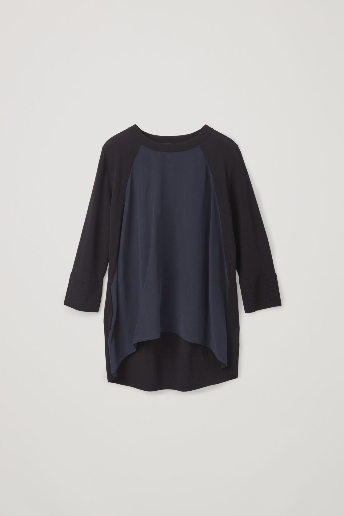 Front image of Cos silk-front a-line knit top in black