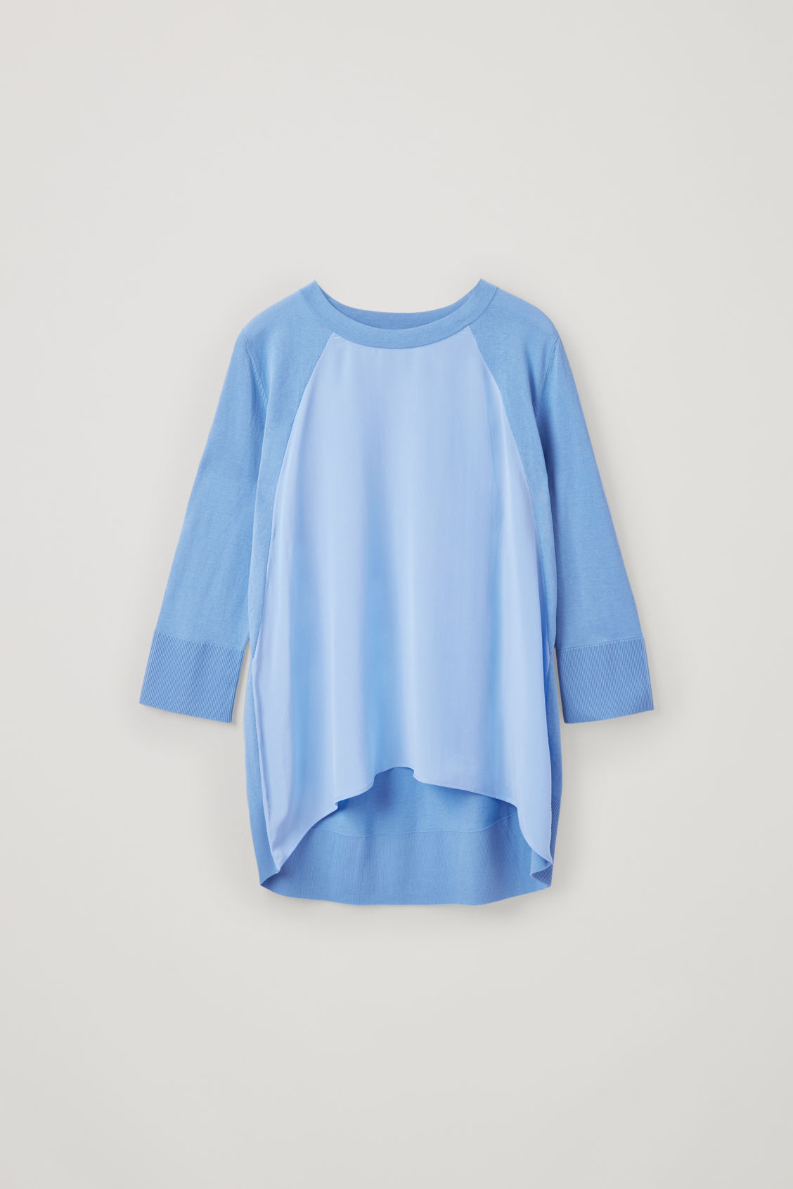 Front image of Cos silk-front a-line knit top in blue