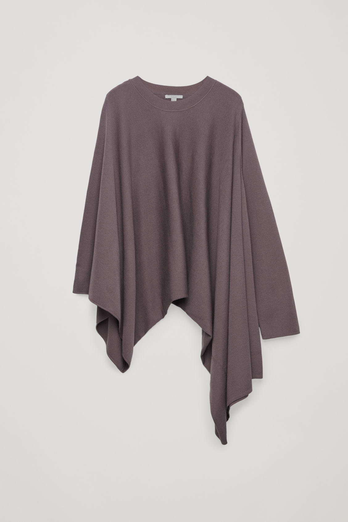 Front image of Cos asymmetric drape-knit top  in purple