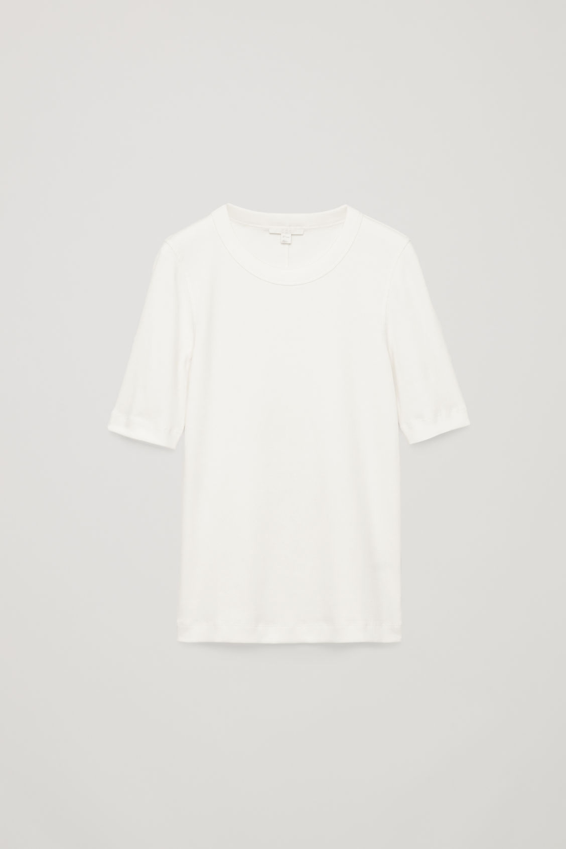 Front image of Cos ribbed jersey t-shirt  in white