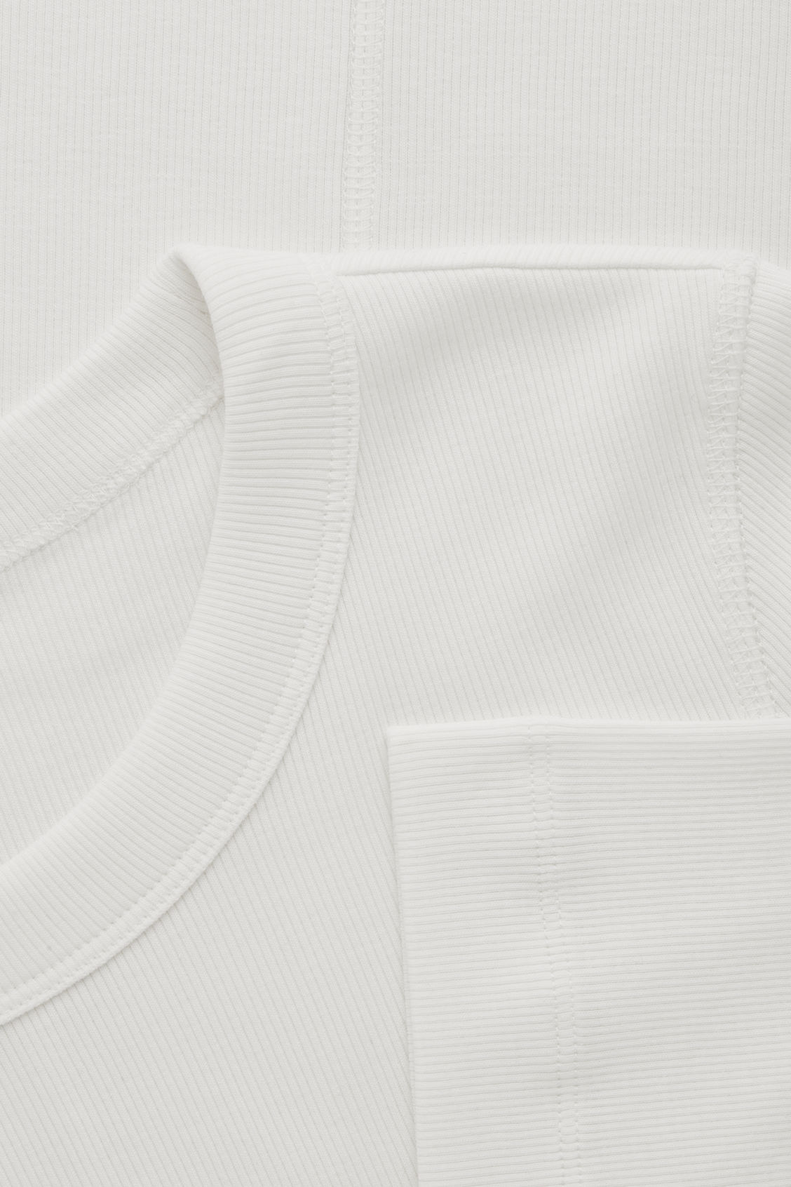 Side image of Cos ribbed jersey t-shirt  in white