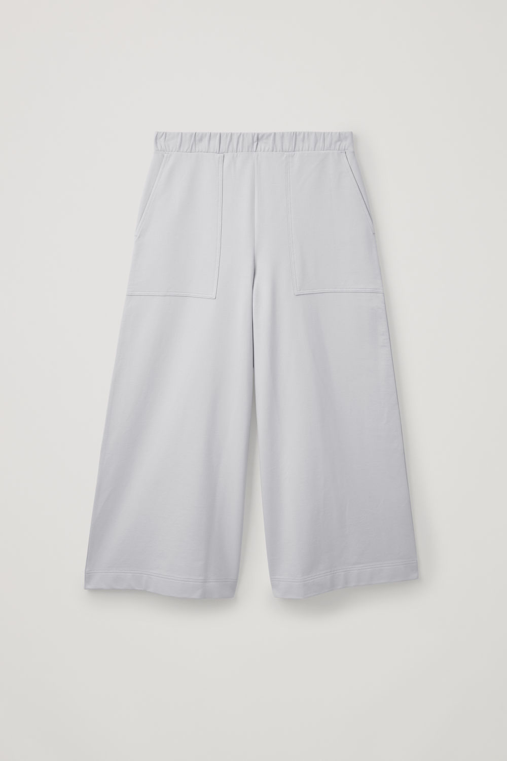 Front image of Cos topstitched jersey culottes in grey