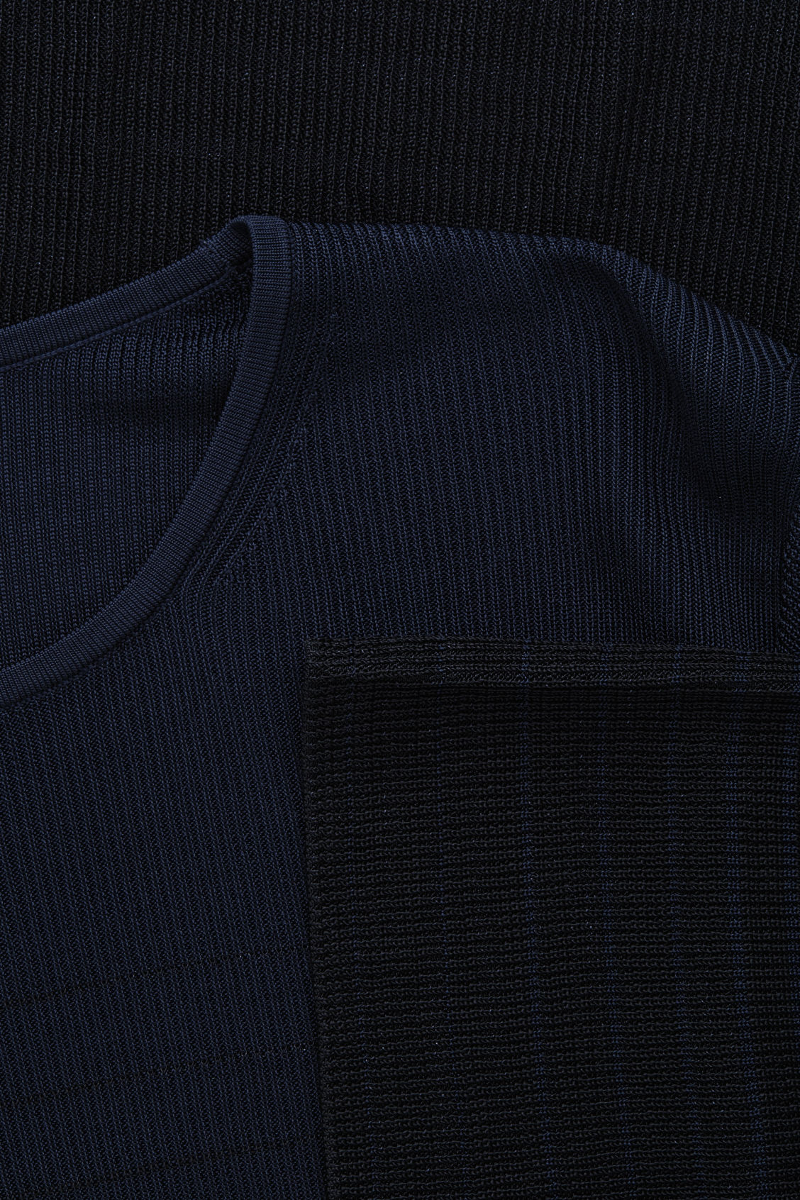 Side image of Cos degrade-striped tunic knit top in blue