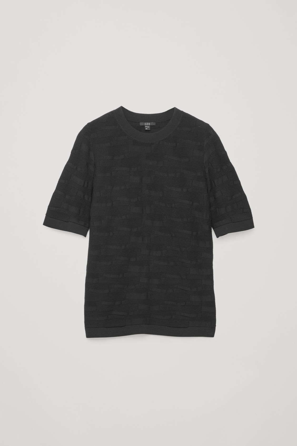 Front image of Cos irregular-stitch knit top in black