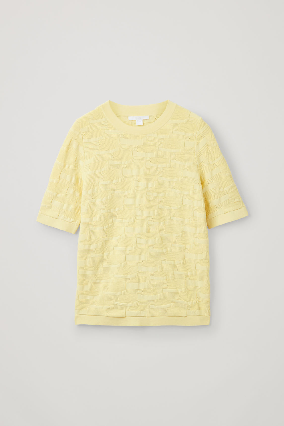 Front image of Cos irregular-stitch knit top in yellow