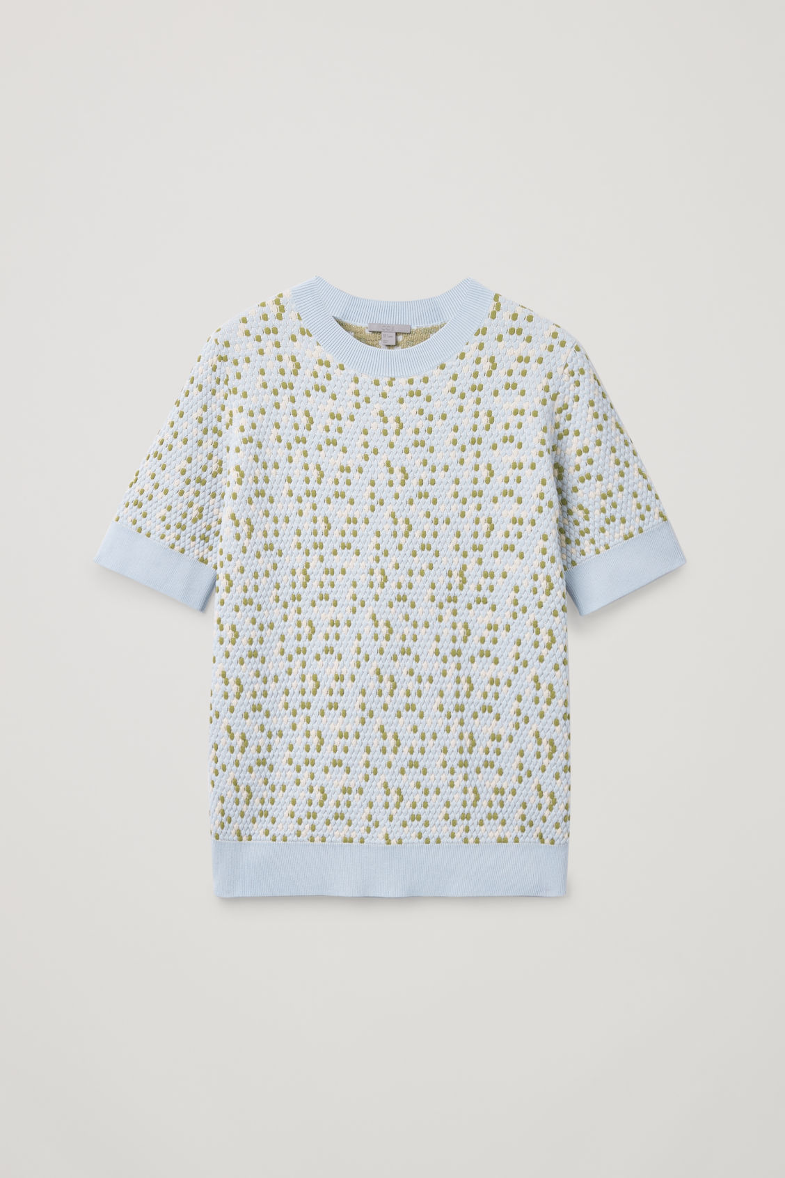 Front image of Cos special-stitch cotton-knit top in blue