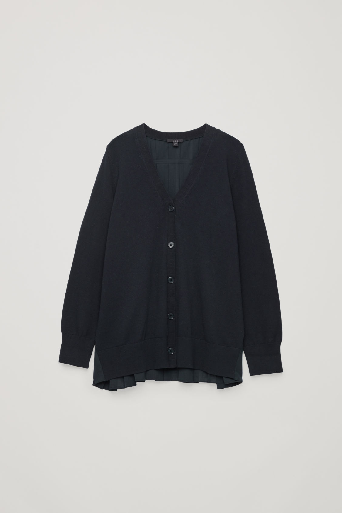 Front image of Cos pleated-panelled cardigan in blue