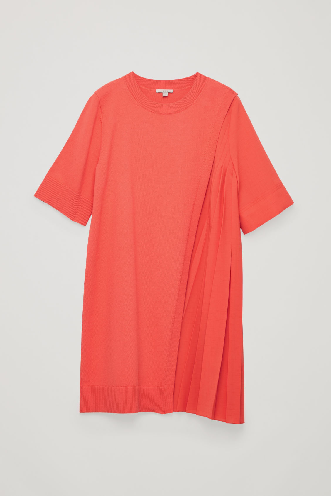 Front image of Cos pleated-panelled knit dress in orange