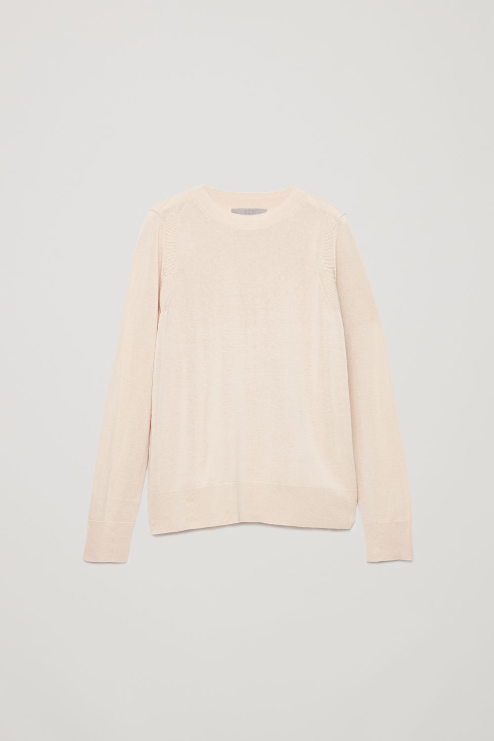 Front image of Cos contrast-rib knit top in beige