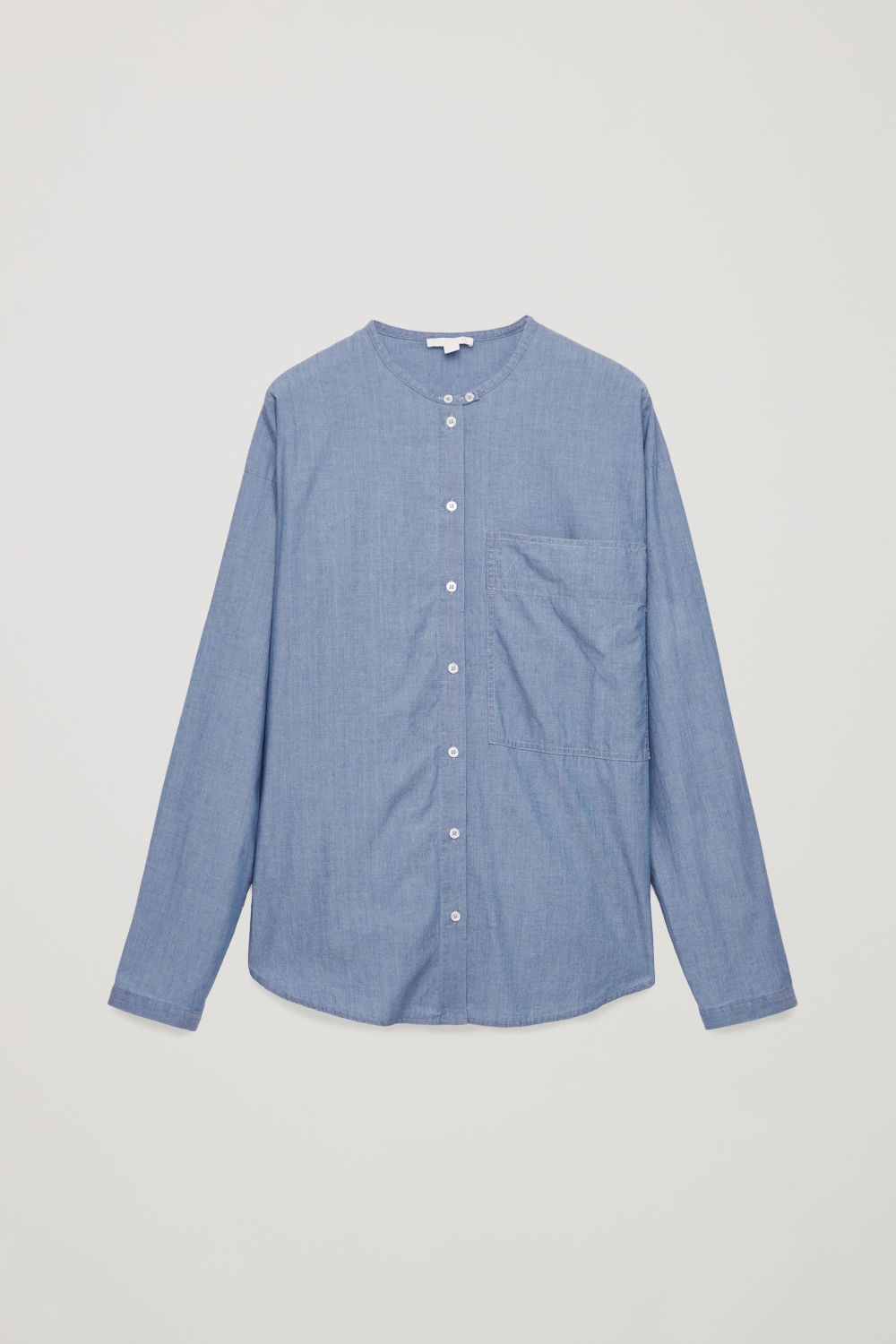 Front image of Cos denim grandad-collar shirt in blue
