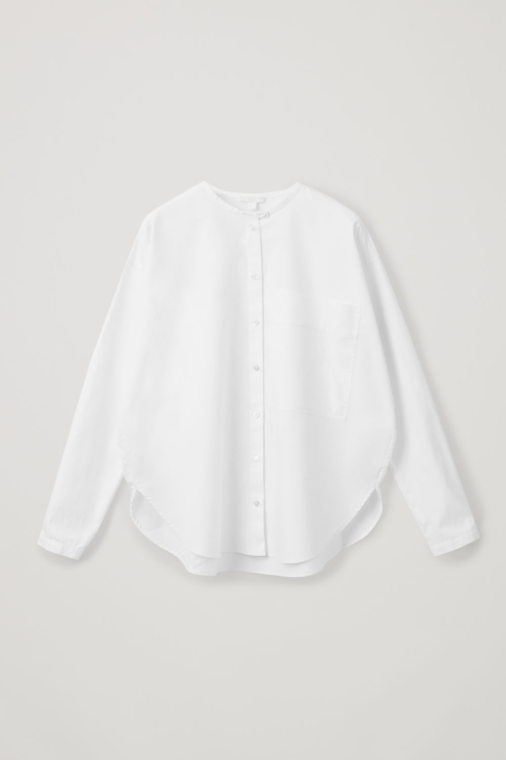 Front image of Cos relaxed grandad-collar shirt in white