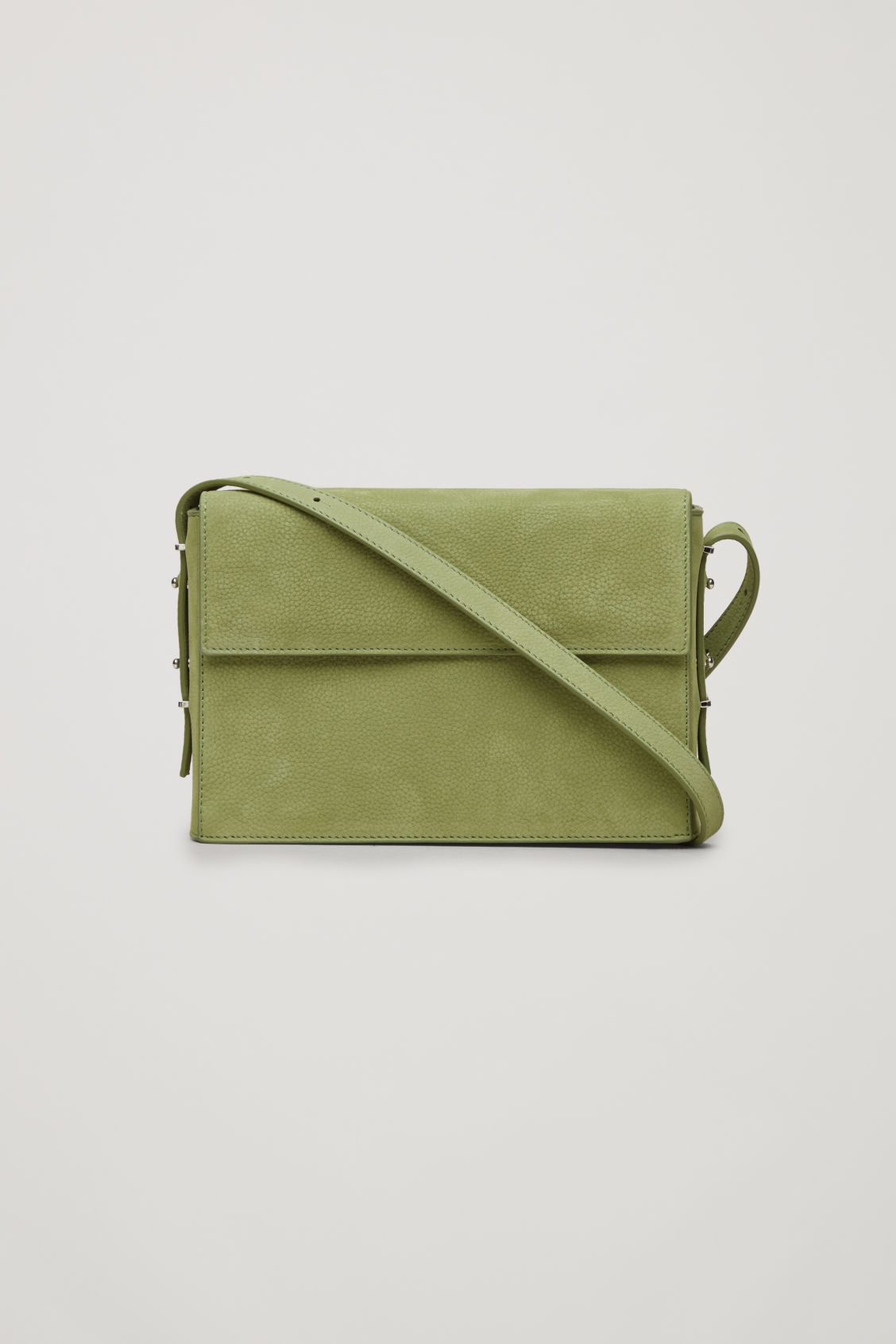 Front image of Cos double-flap box leather bag in green