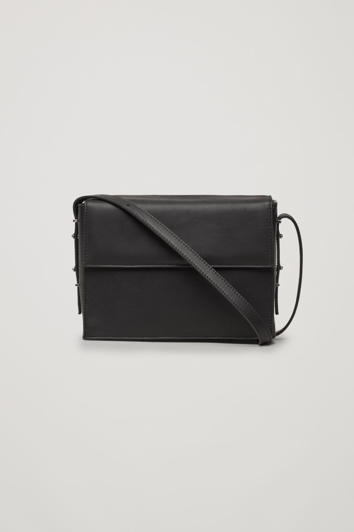 Front image of Cos double-flap box leather bag in black