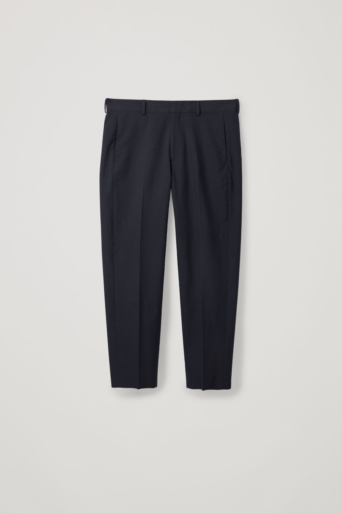 Front image of Cos straight-leg seersucker trousers  in blue