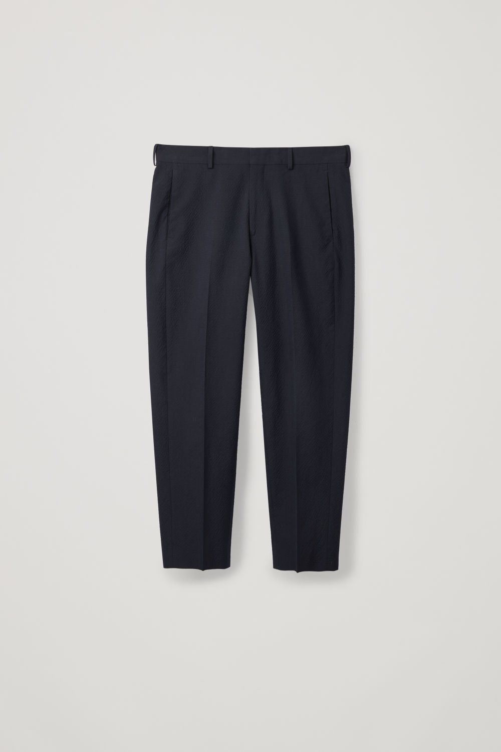 STRAIGHT-LEG SEERSUCKER TROUSERS