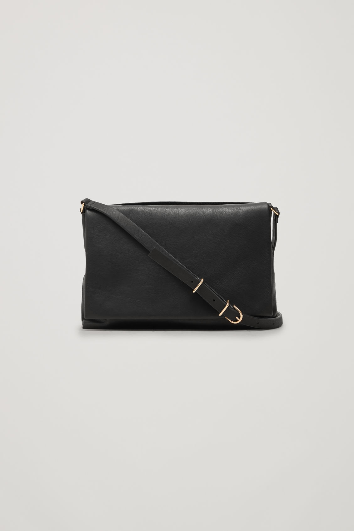 Front image of Cos small soft-leather shoulder bag in black