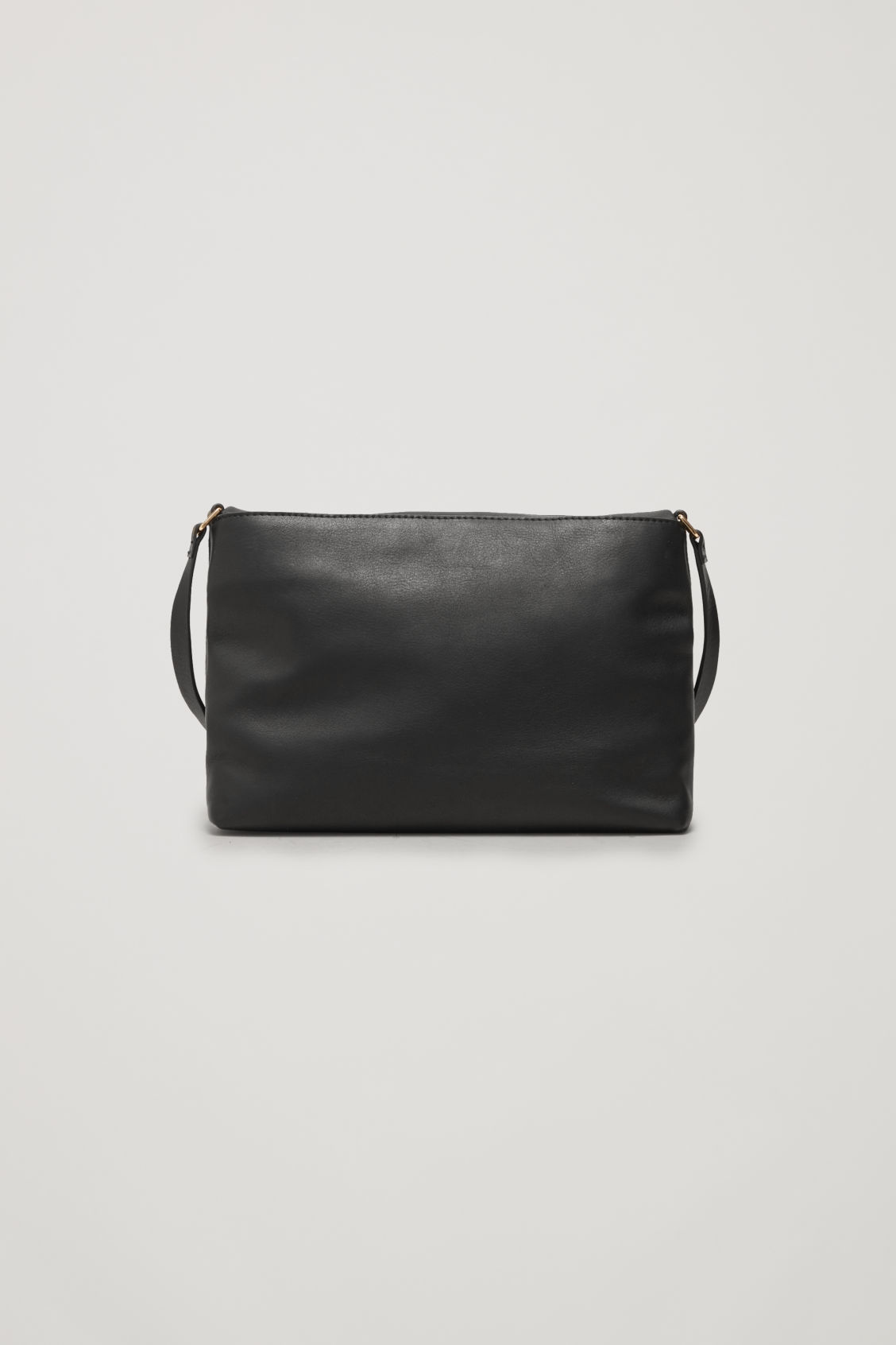 Side image of Cos small soft-leather shoulder bag in black