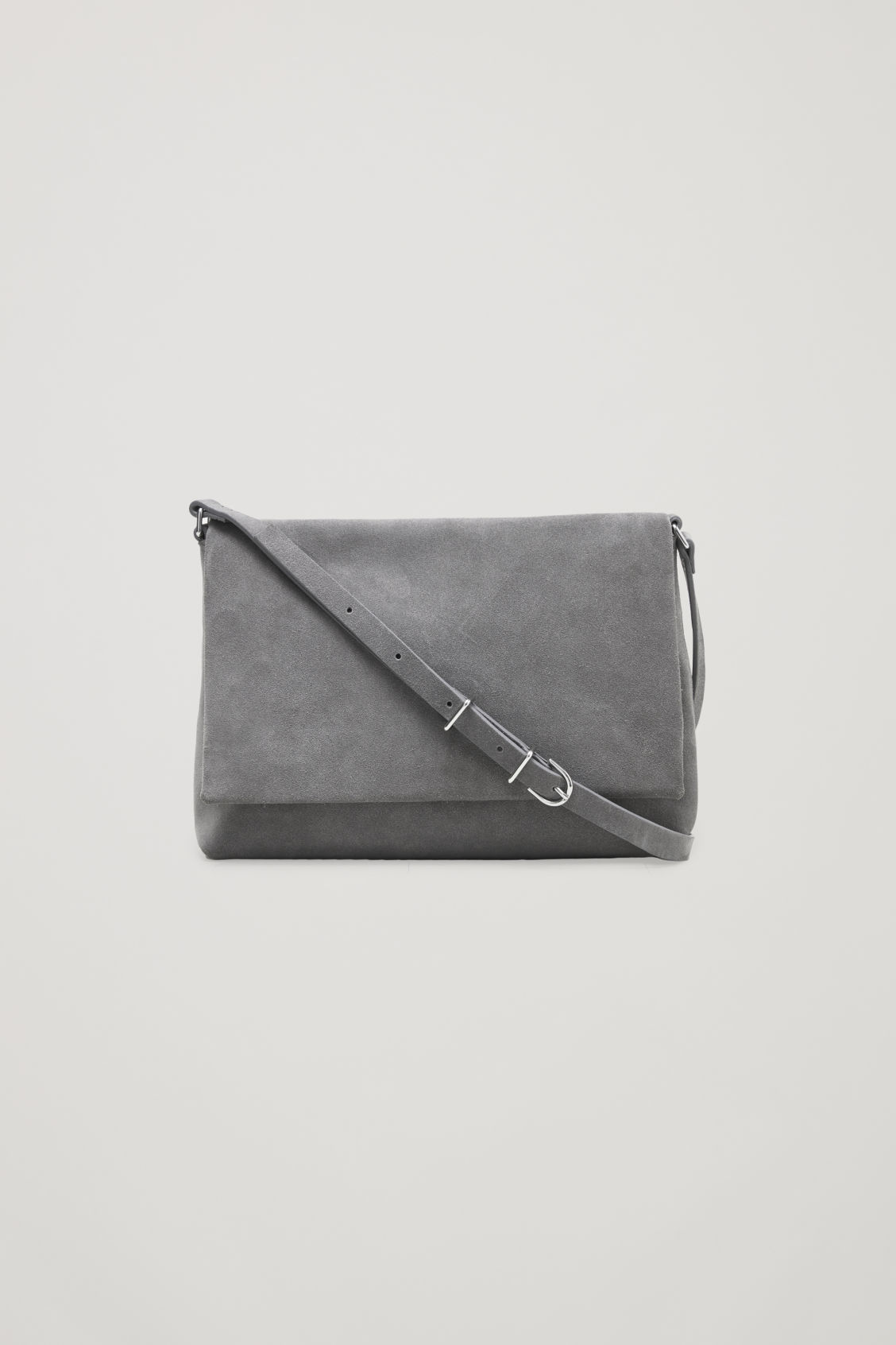 Front image of Cos small soft-leather shoulder bag in grey