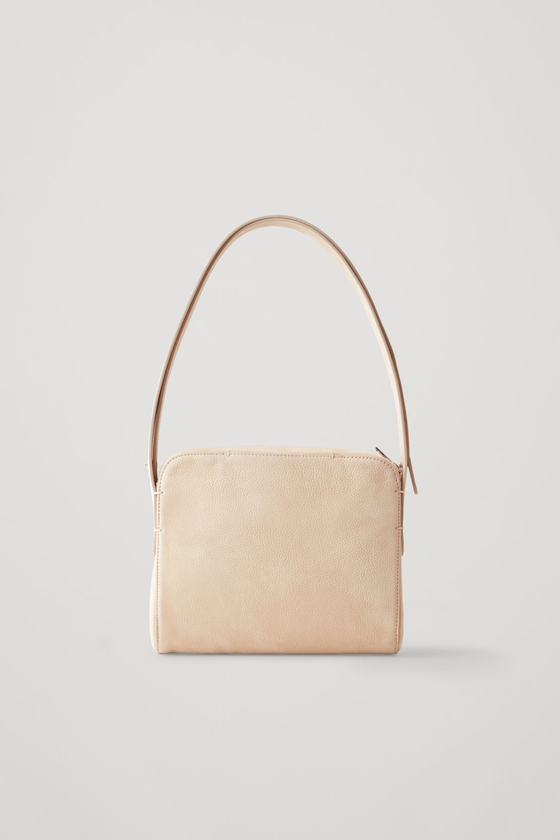 Front image of Cos nubuck leather shoulder bag in beige