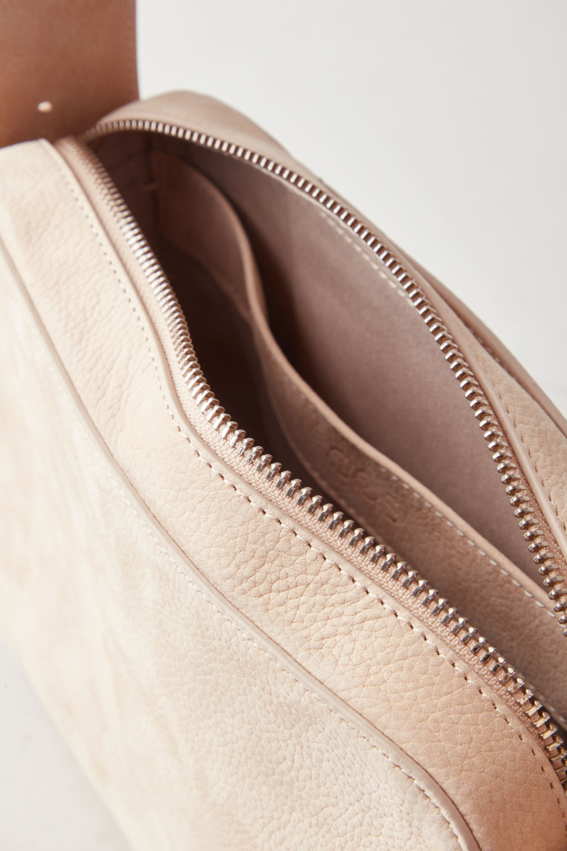 Side image of Cos nubuck leather shoulder bag in beige
