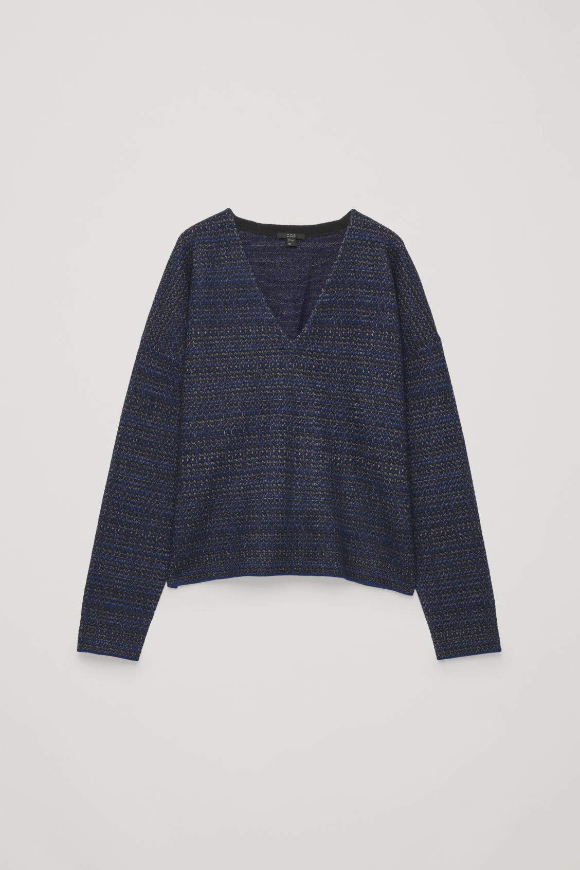 Front image of Cos jacquard boiled-wool jumper in blue