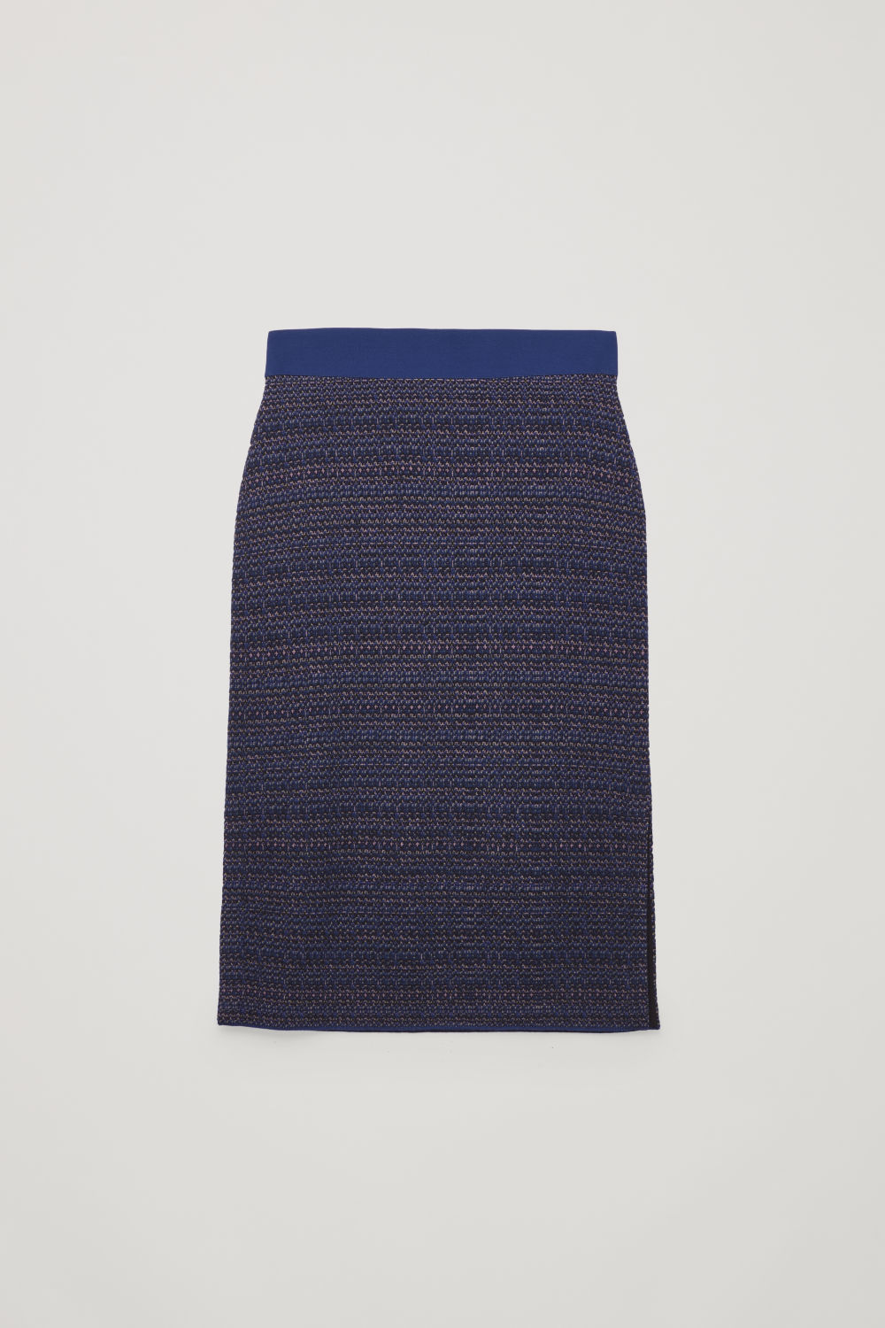 Front image of Cos jacquard boiled-wool knit skirt in blue