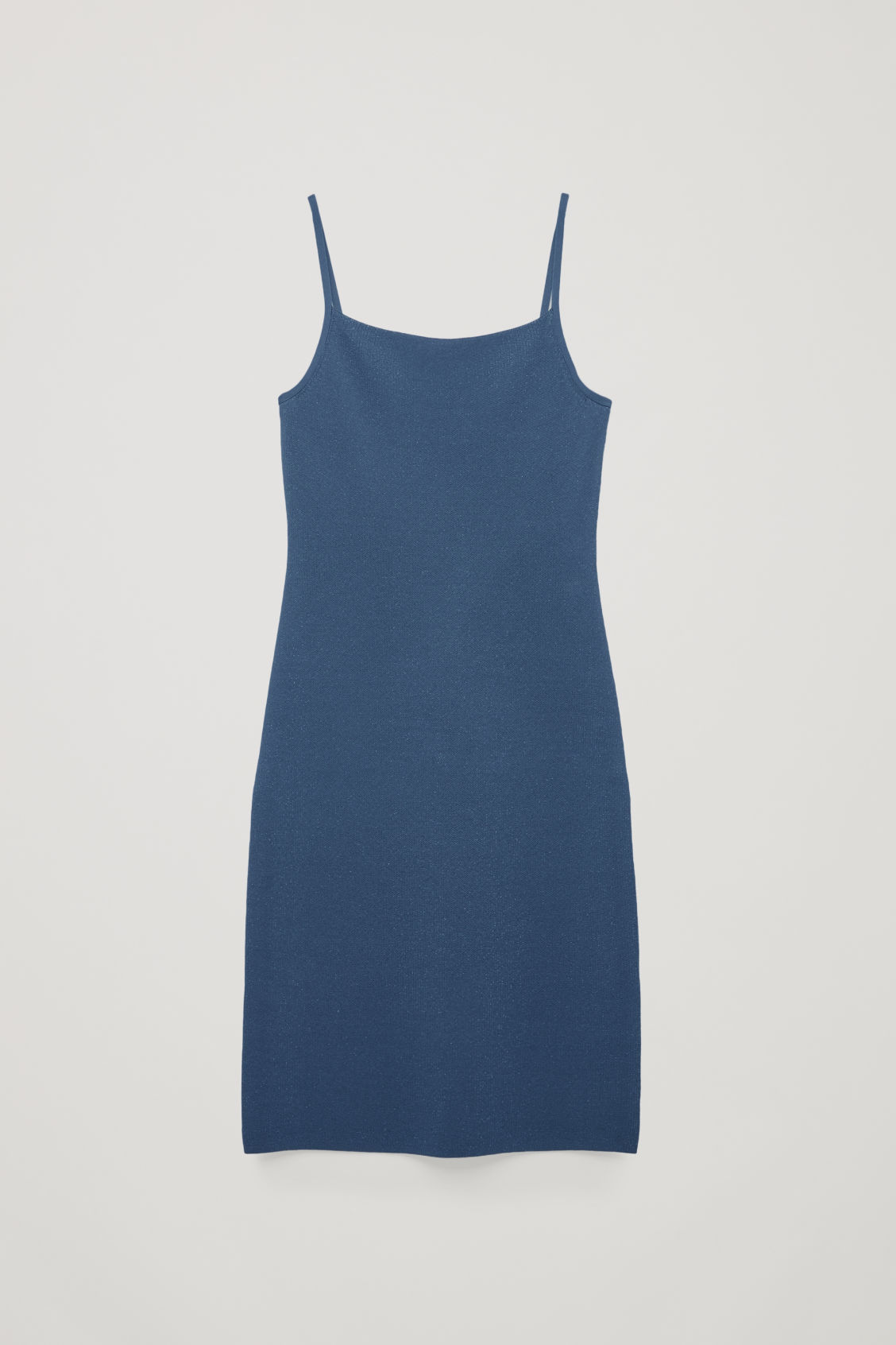 Front image of Cos textured metallic slip dress in blue