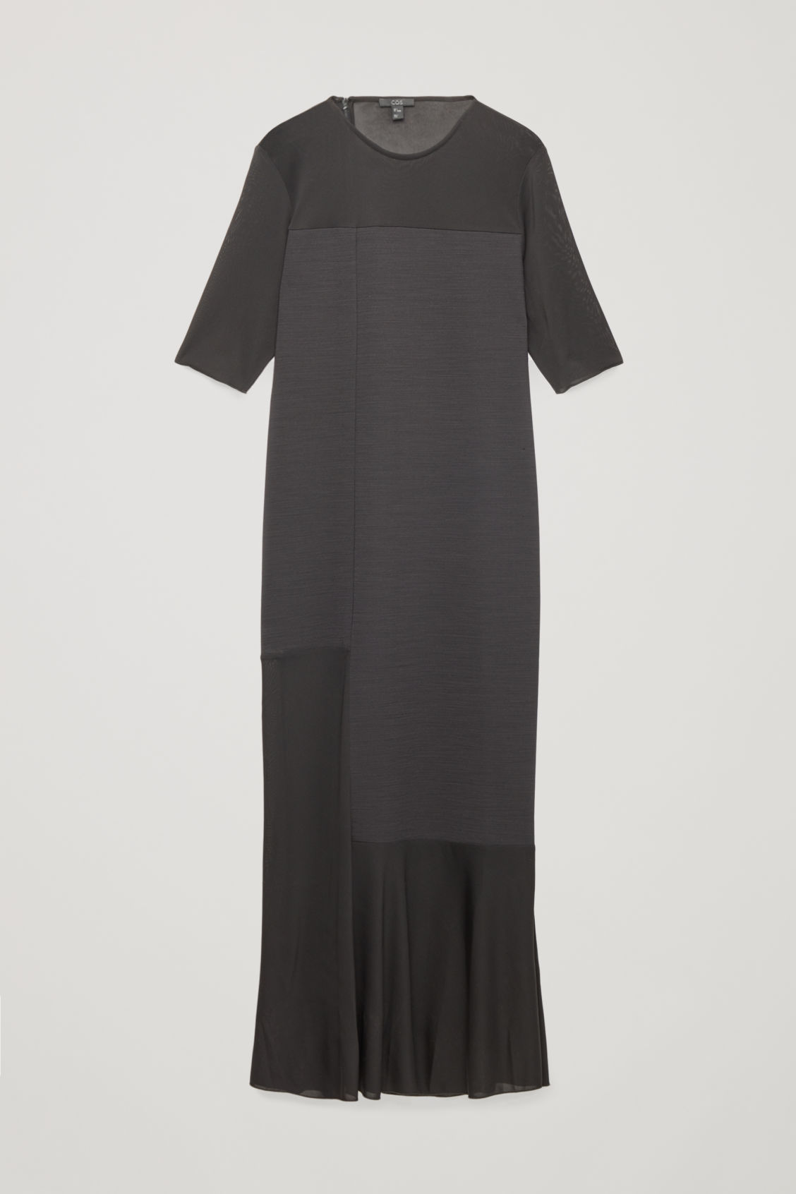 Front image of Cos sheer-panelled long dress in black
