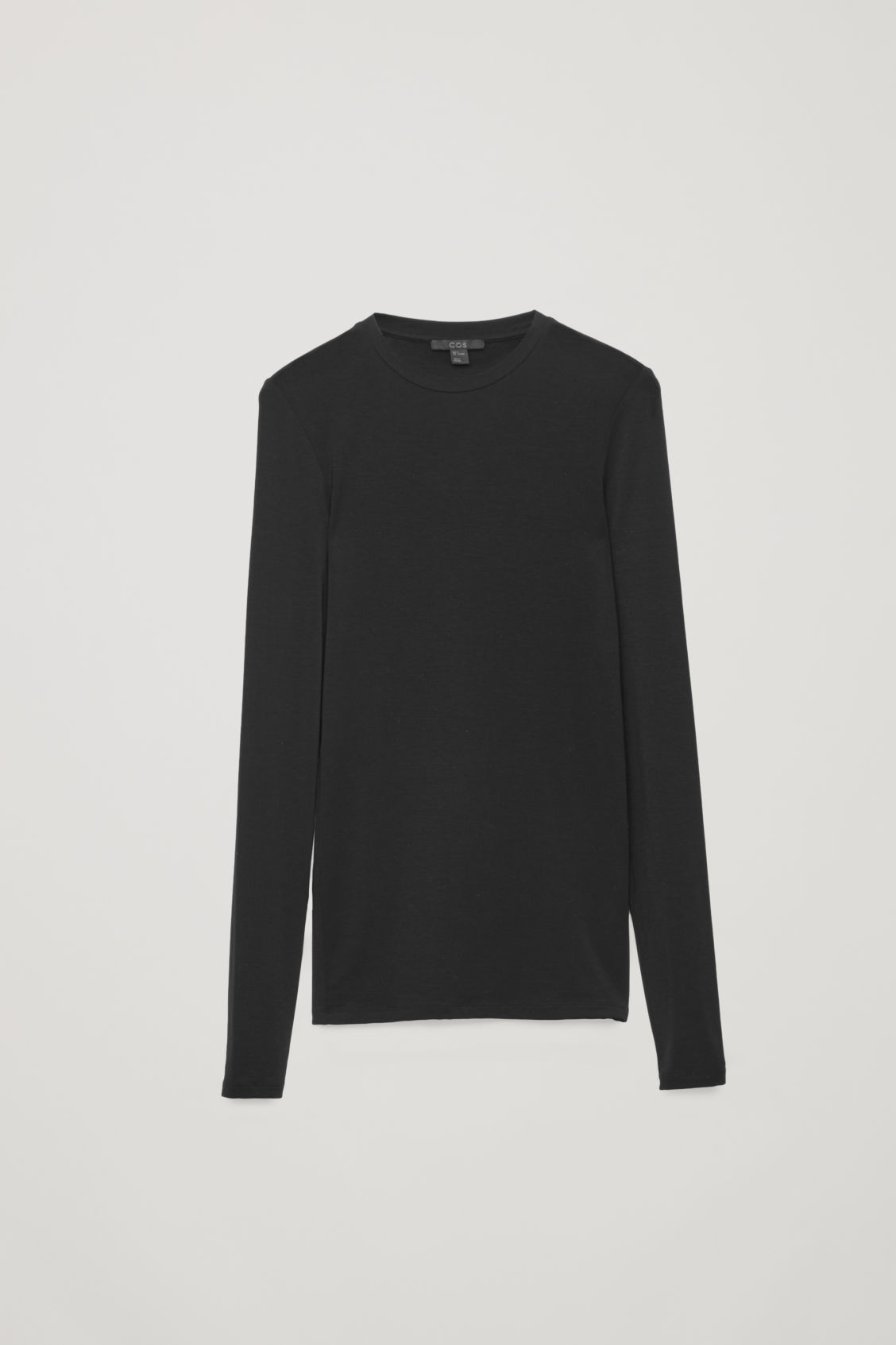 Front image of Cos slim-fit jersey top in black