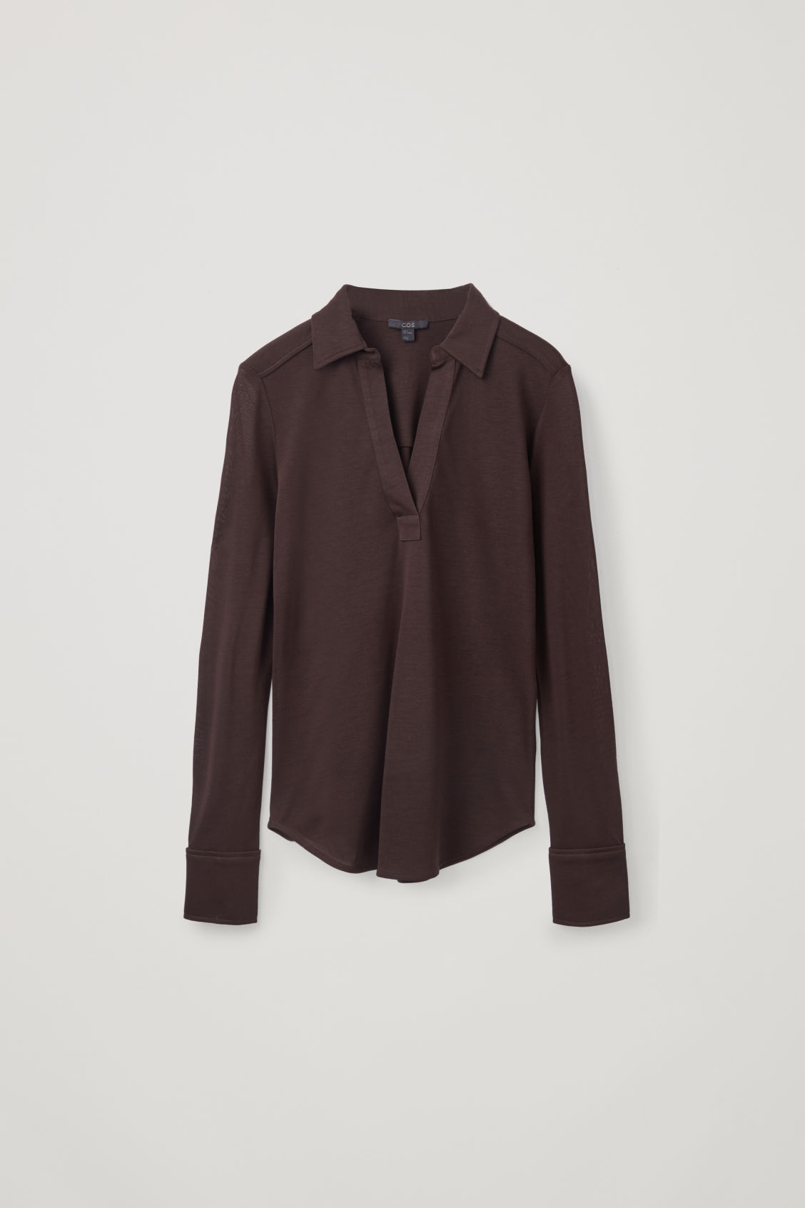 Front image of Cos open-collar jersey shirt in brown