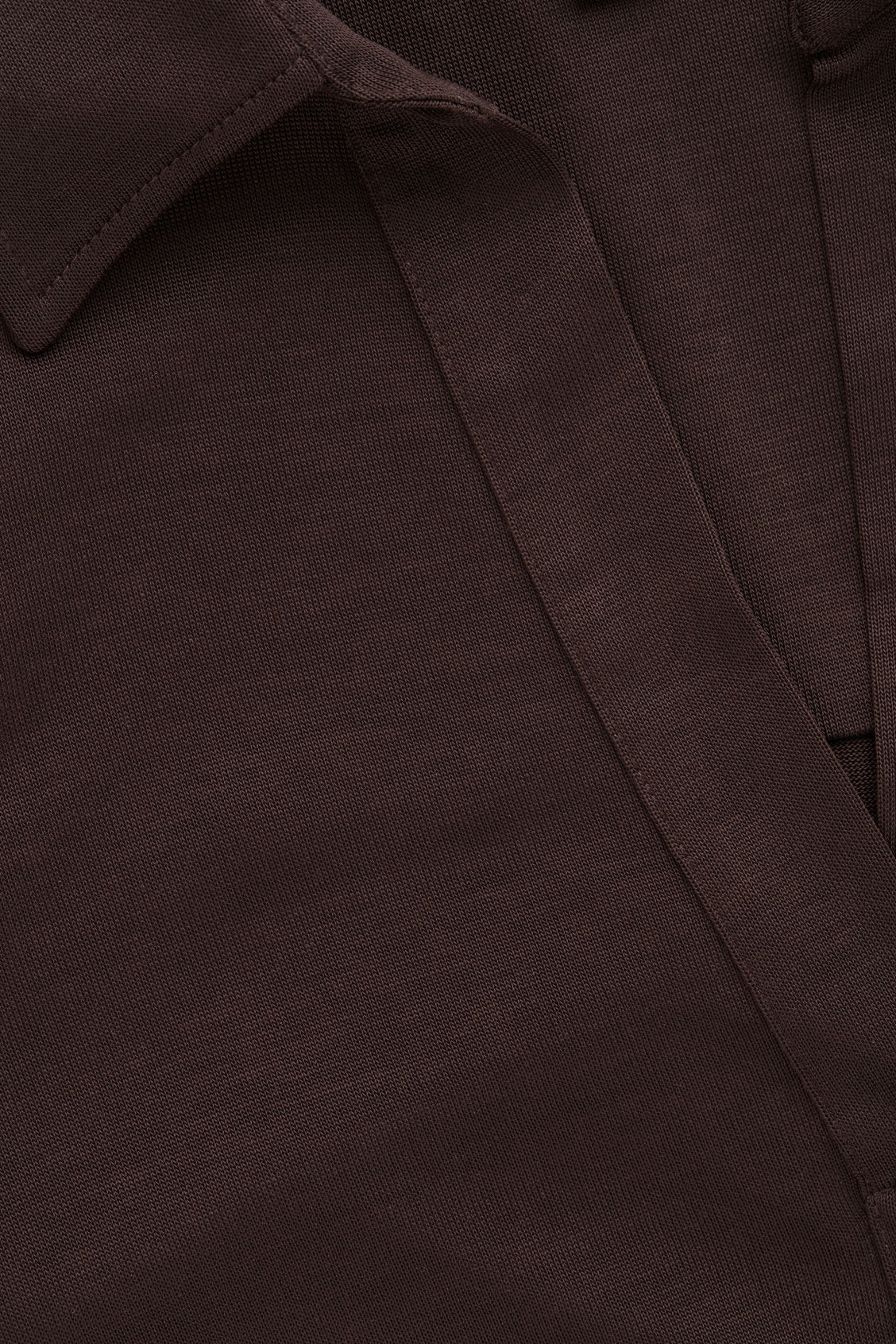 Side image of Cos open-collar jersey shirt in brown