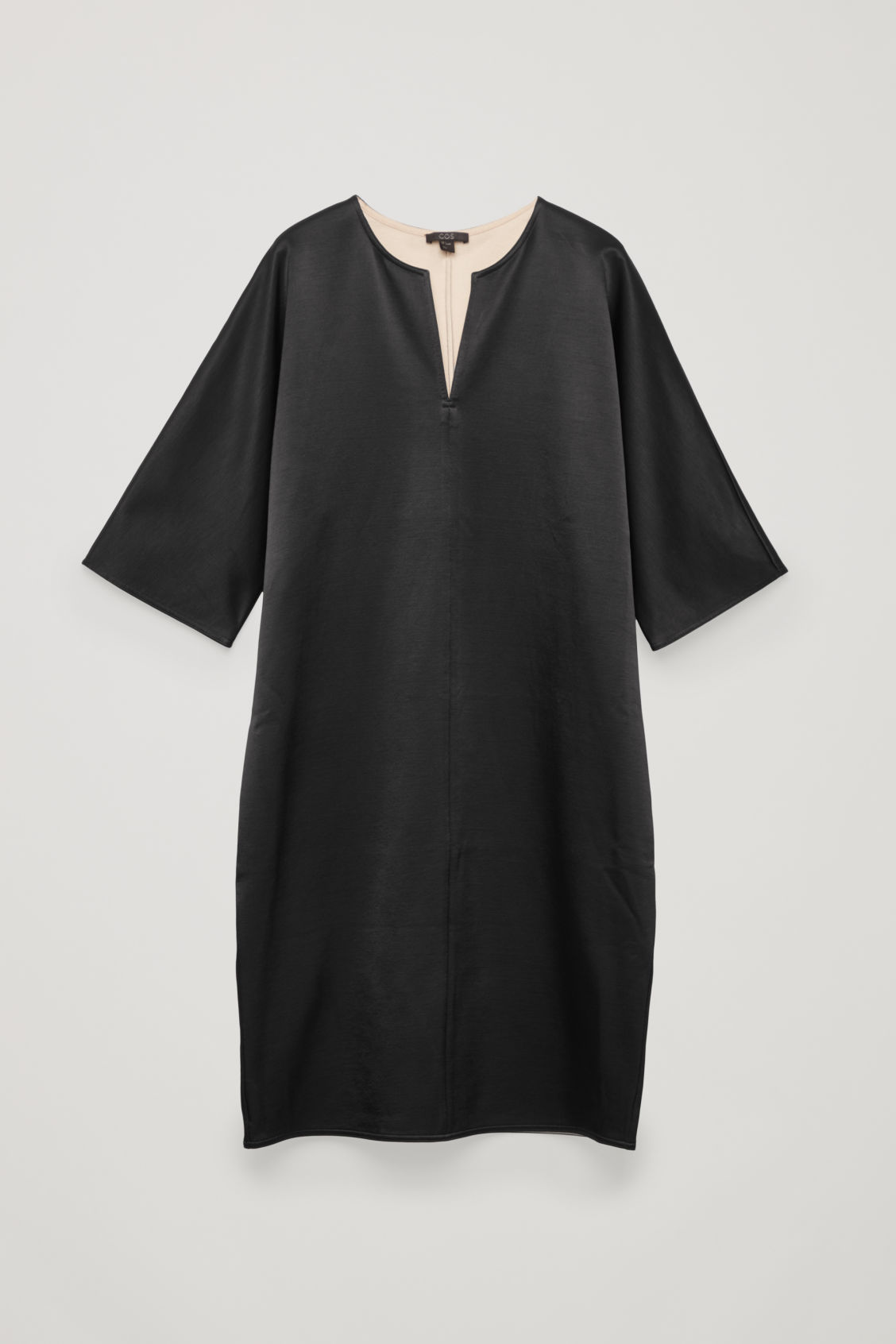 Front image of Cos batwing-sleeved jersey dress  in black