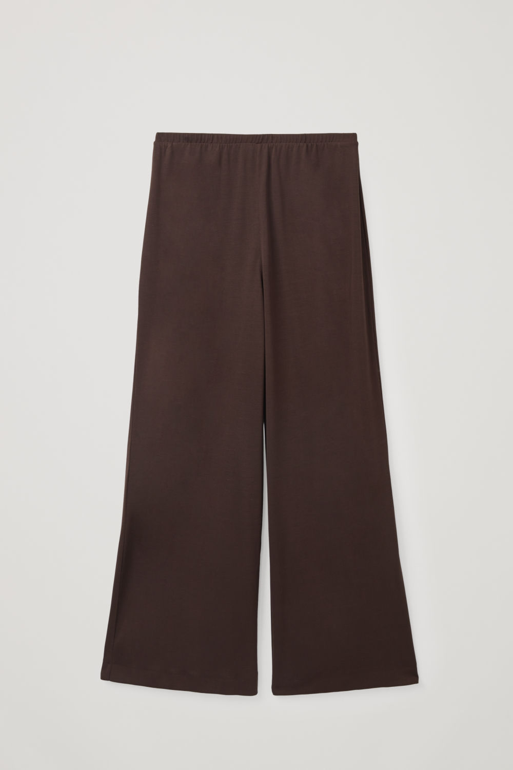 Front image of Cos elastic-waist jersey trousers  in brown