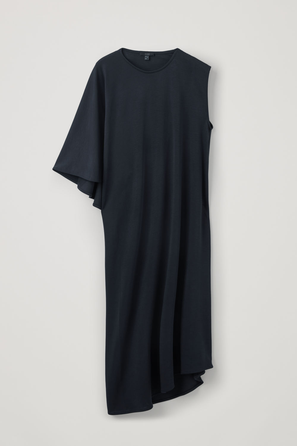 Front image of Cos cape-panelled long jersey dress in blue