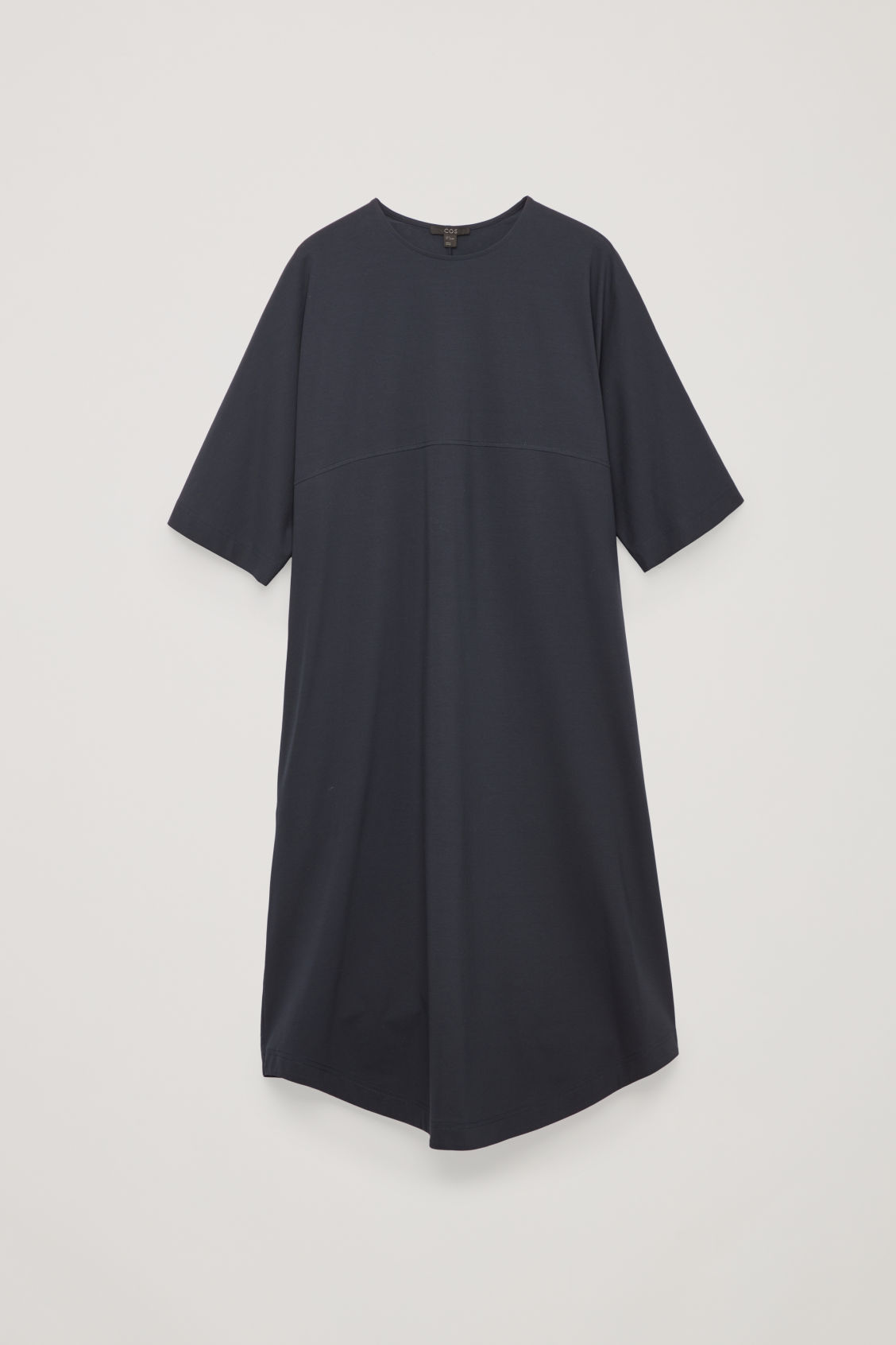 Front image of Cos woven-panelled a-line jersey dress in blue