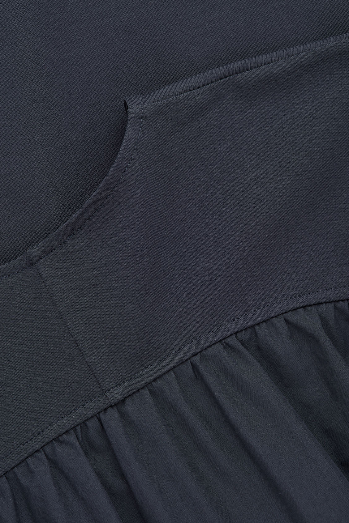 Side image of Cos woven-panelled a-line jersey dress in blue