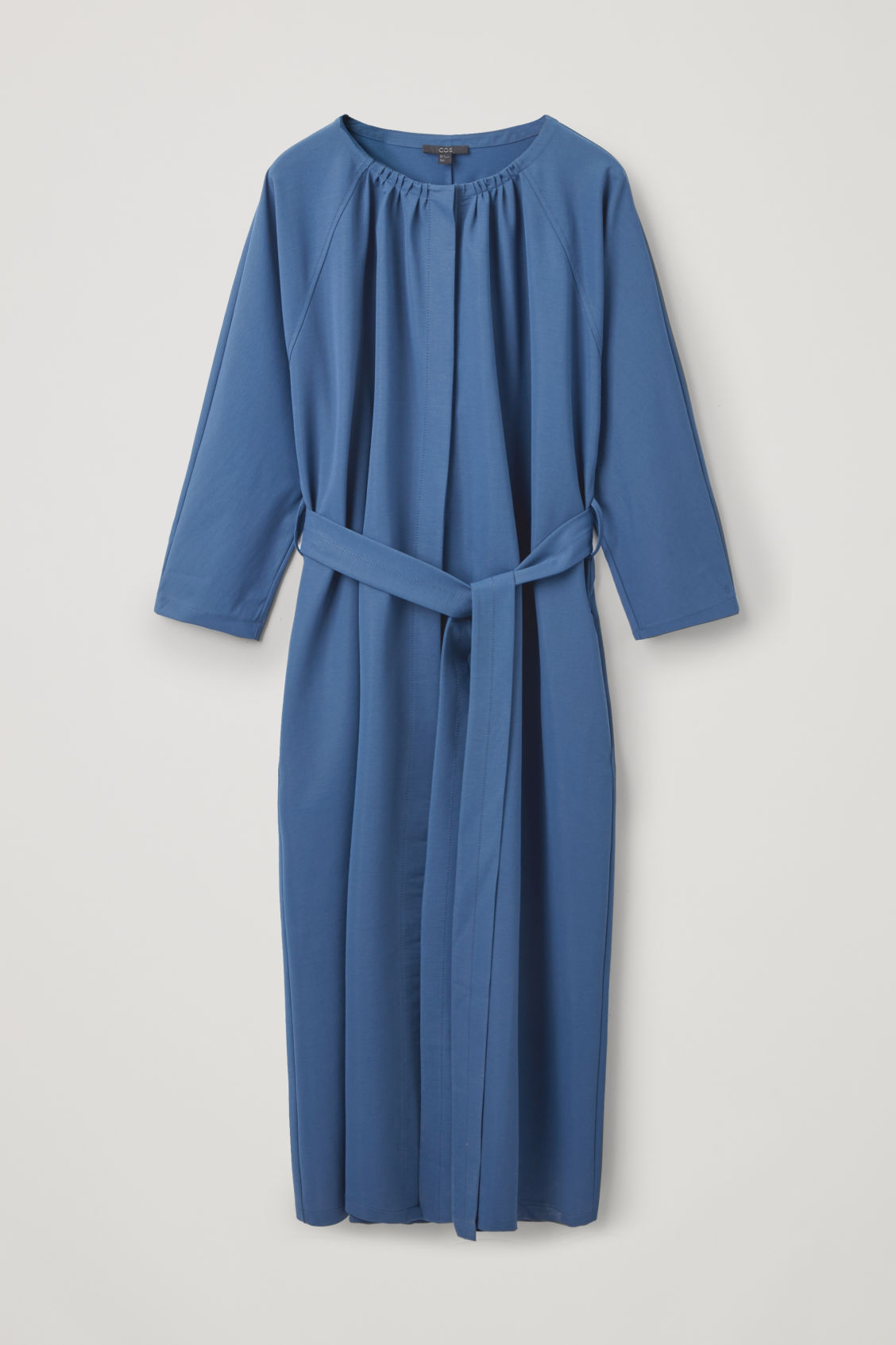 Front image of Cos yoke-detailed gathered dress in blue