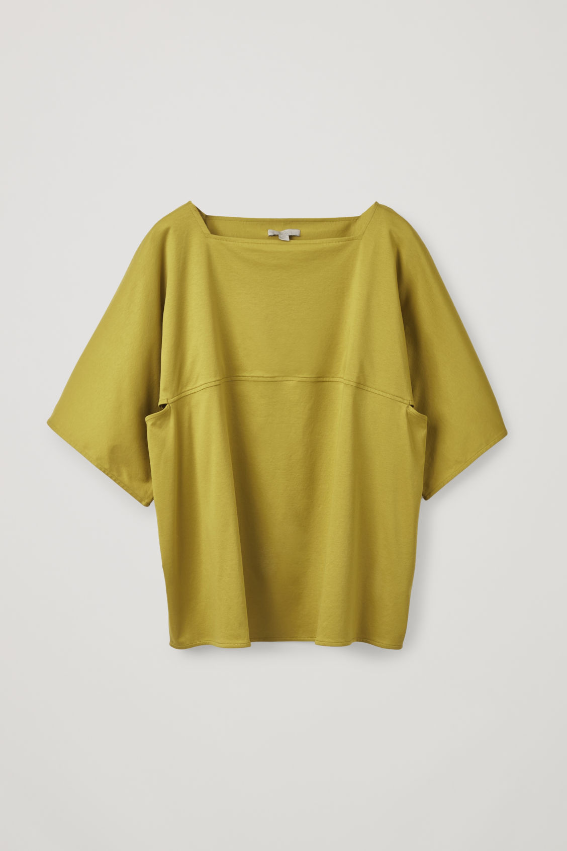 Front image of Cos square-neck jersey top in yellow