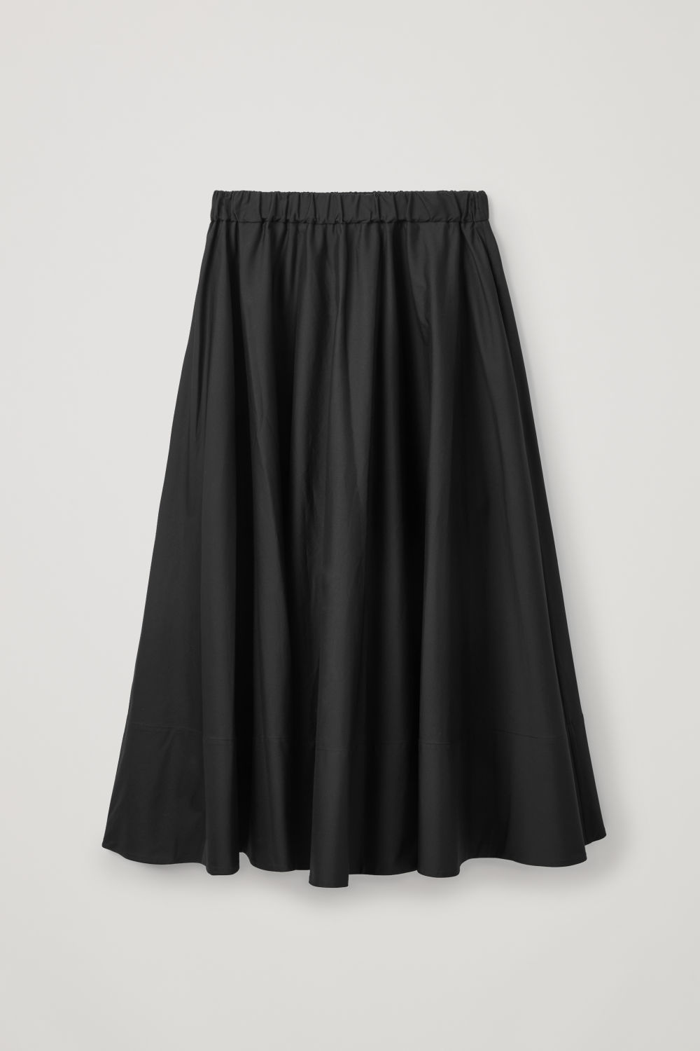 Front image of Cos long circle-cut skirt in black