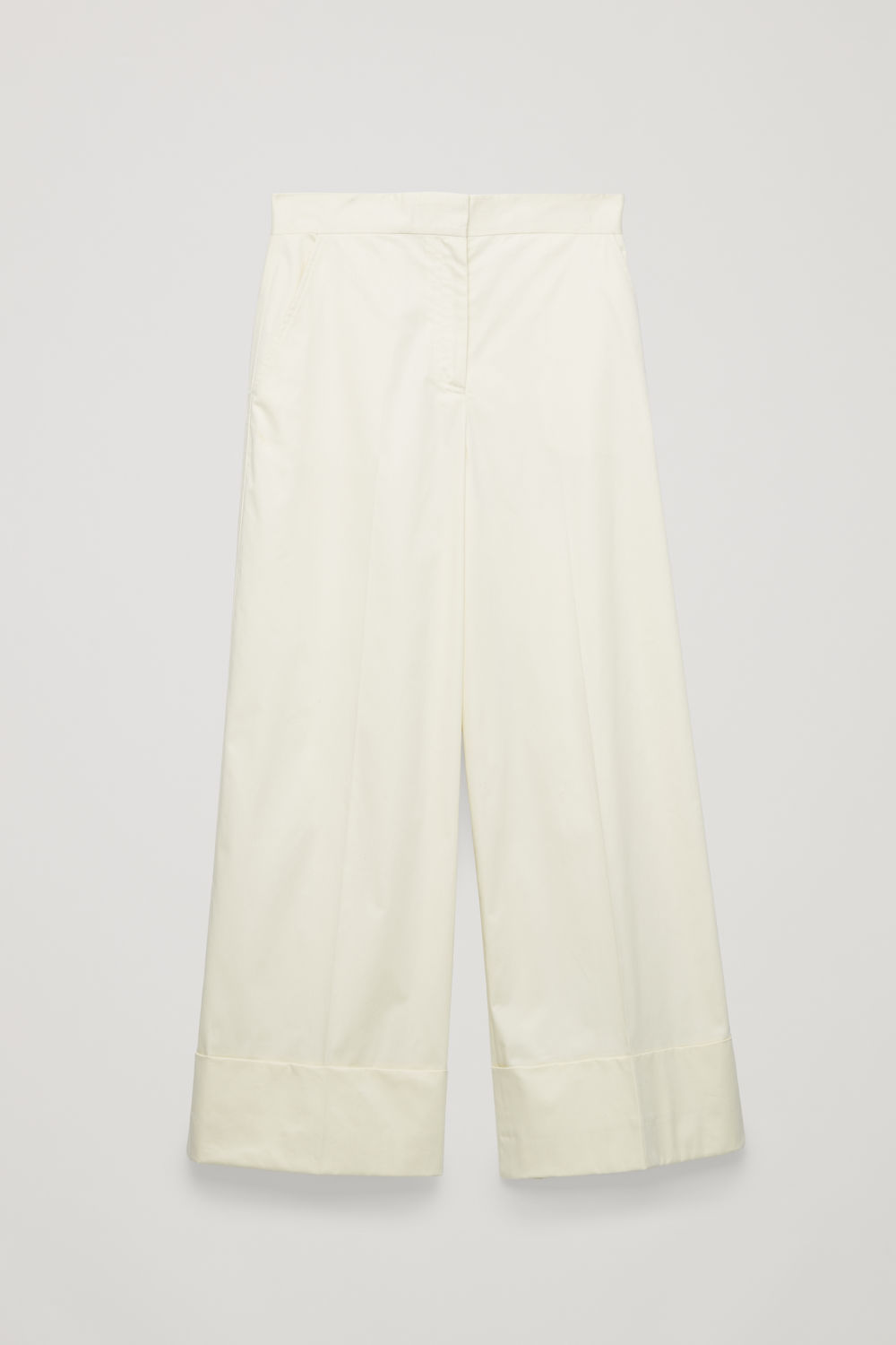 Front image of Cos wide-leg cotton trousers in beige