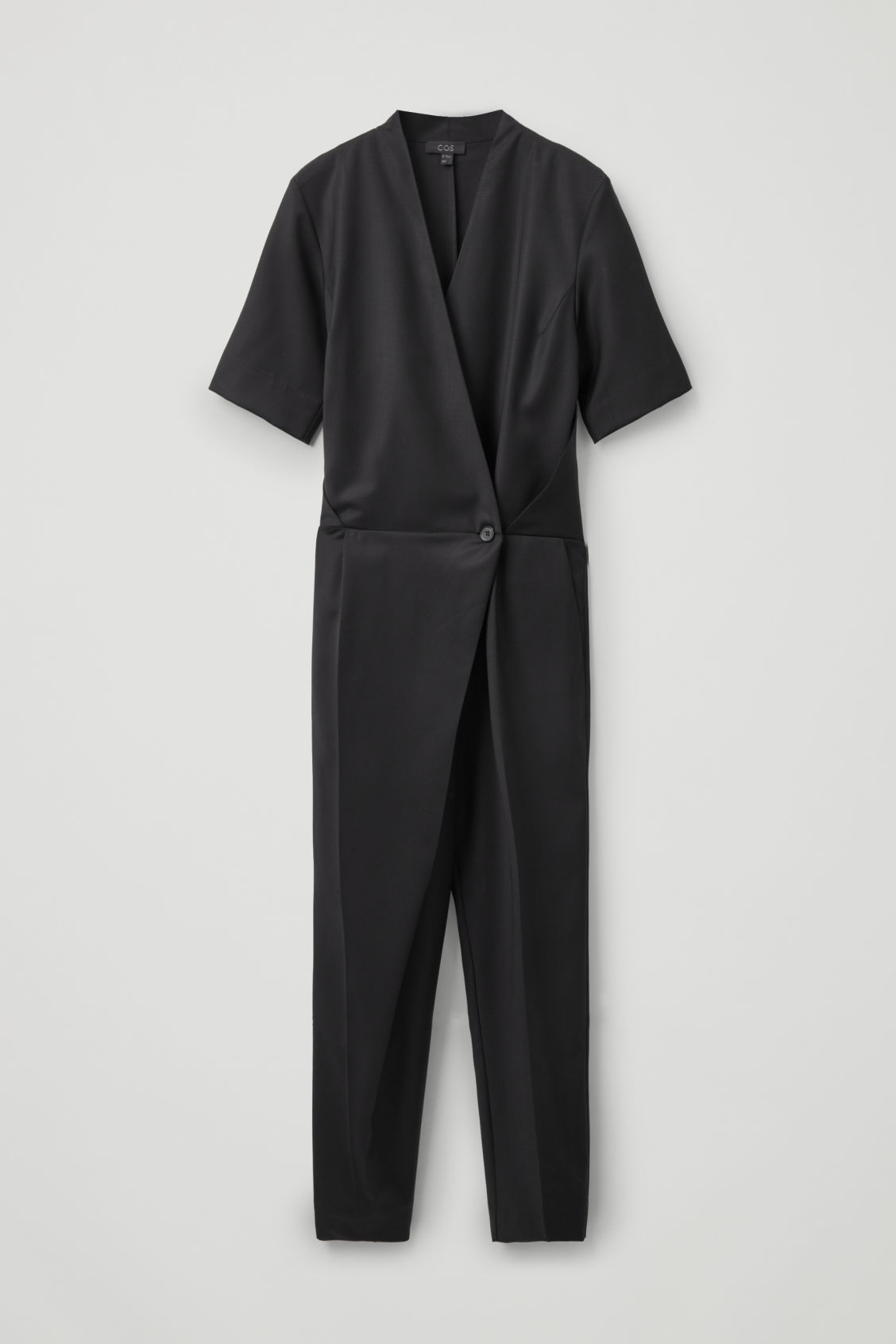 Front image of Cos wool tailored wrap jumpsuit in black