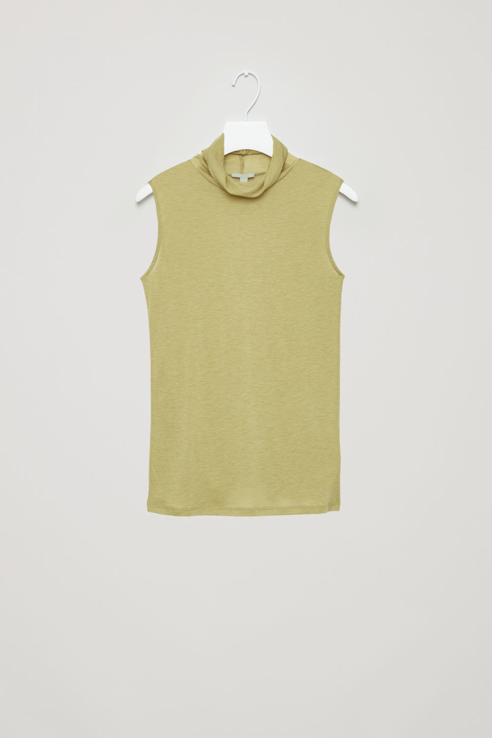 Front image of Cos sleeveless roll-neck jersey top in green