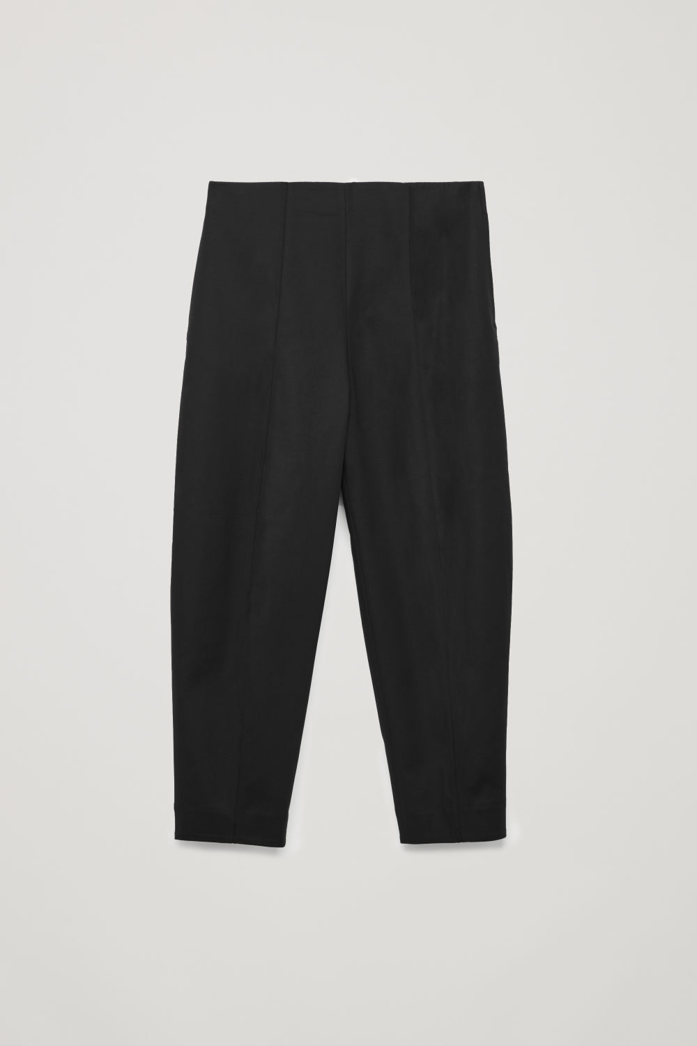 Front image of Cos dart-detailed cotton trousers in black