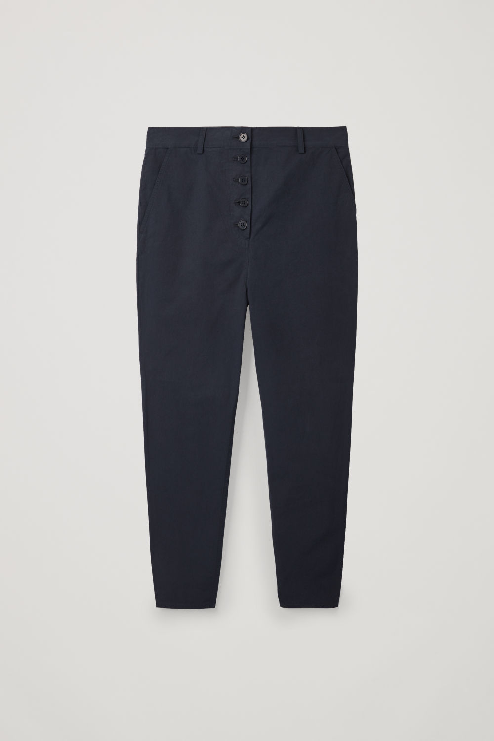 Front image of Cos button-up cotton chinos in blue