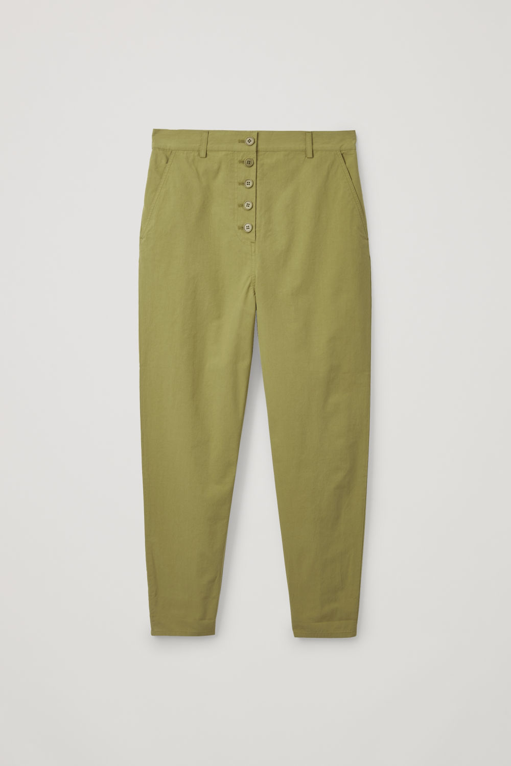 Front image of Cos button-up cotton chinos in green