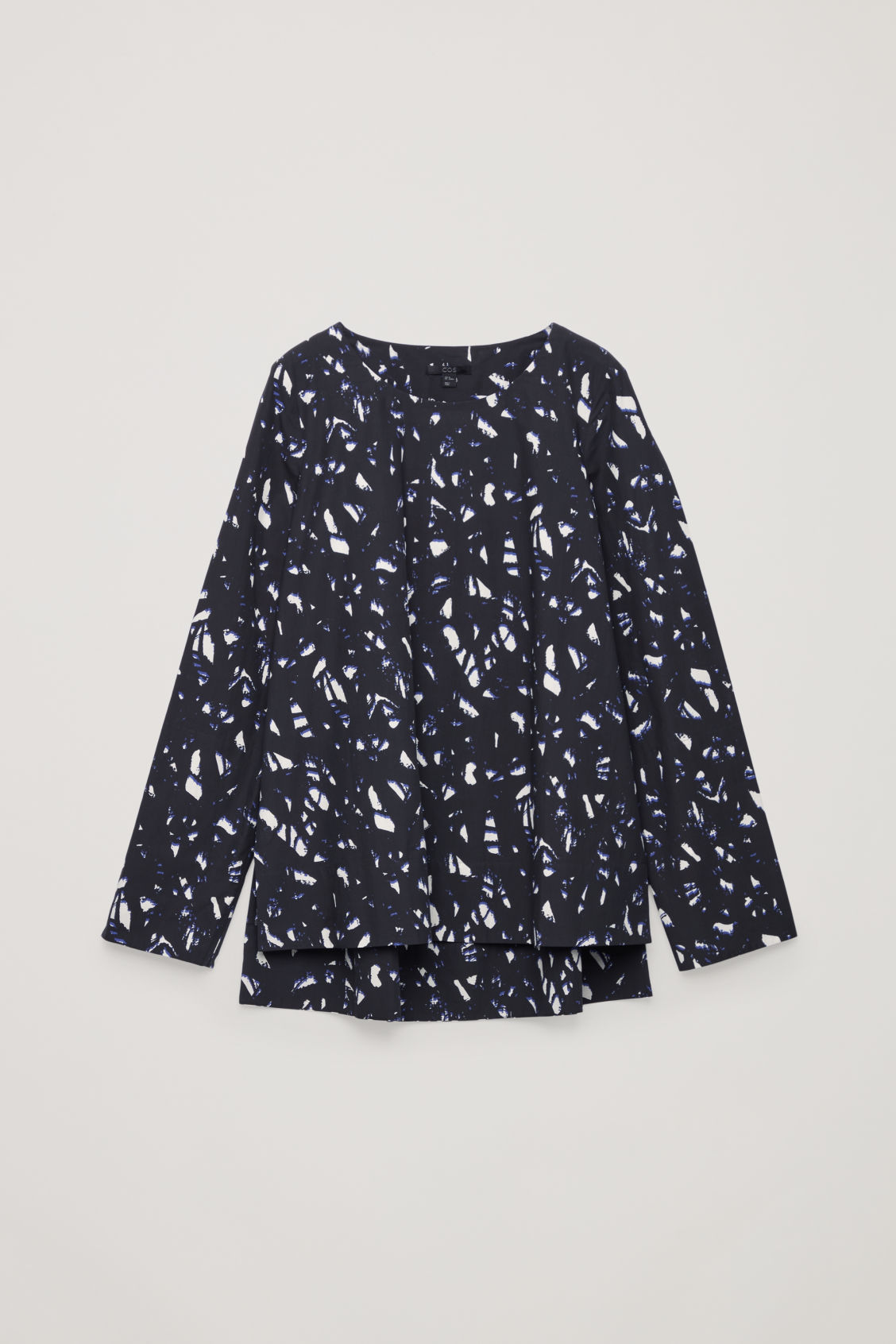 Front image of Cos long printed cotton-poplin top in black