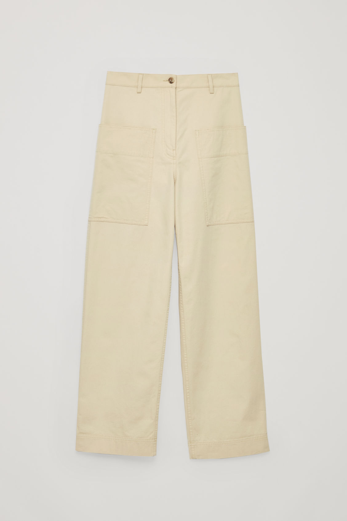 Front image of Cos straight-leg trousers with pockets in beige