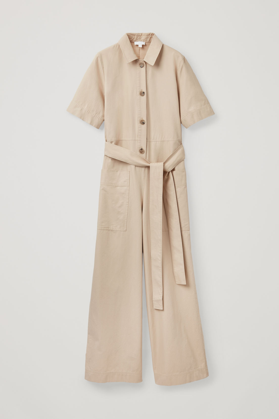 Front image of Cos belted button-up jumpsuit in beige