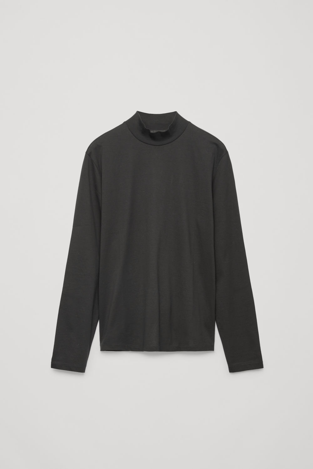 Front image of Cos cotton jersey roll-neck top in black